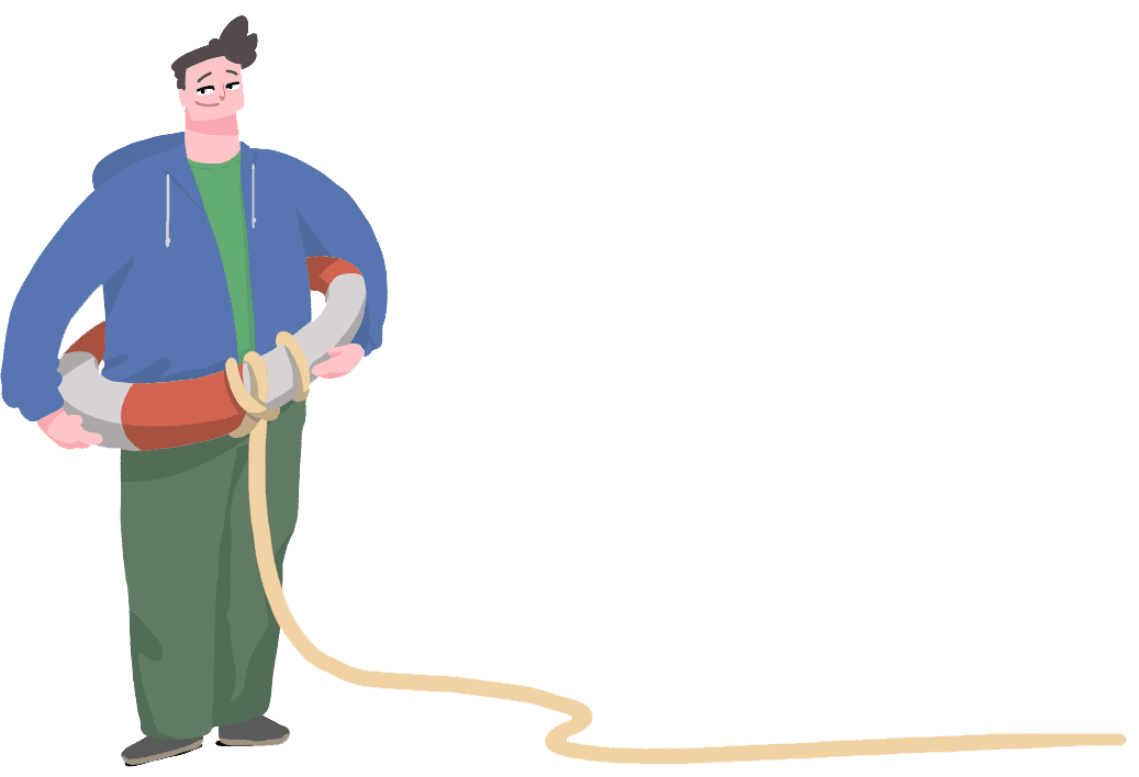 Cartoon man holding buoyancy ring
