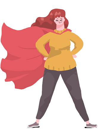 Cartoon image of woman with a cape standing heroically