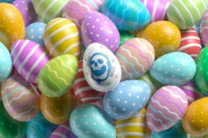 A bunch of easter eggs with a DeadHappy one on the top